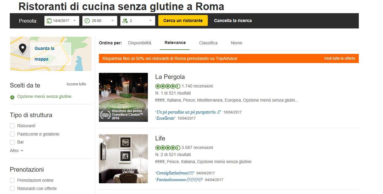 ristoranti senza glutine roma
